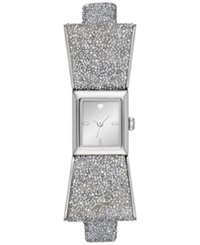 Kate Spade New York Women's Kenmare Swarovski Crystal White Leather Fabric And Stainless Steel Bow Tie Strap Watch 20Mm Ksw1184 Silver