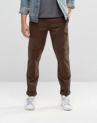 Asos Slim Cotton Trousers In Dark Brown Turkish Coffee