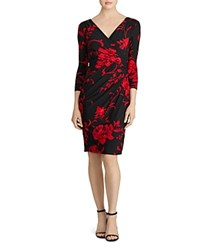 Ralph Lauren Floral Jersey Dress Black Red Multi