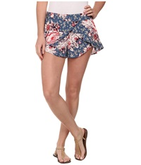 Free People Printed Rayon Extreme Crossover Shorts Bluestone Combo Women's Shorts Multi