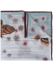 Valentino Butterfly Print Scarf Blue