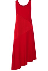 Dkny Asymmetric Paneled Satin And Crepe Midi Dress Red