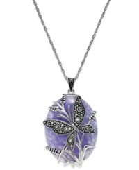 Genevieve And Grace Sterling Silver Lavender Jade 31 1 2 Ct. T.W. And Marcasite Butterfly Pendant Necklace