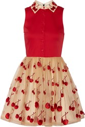 Alice Olivia Cherry Pouf Cotton Blend And Tulle Dress Red