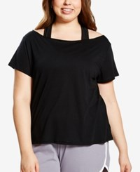 Soffe Curvy Plus Size Off The Shoulder Dance T Shirt Black