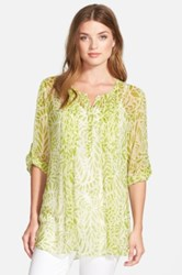 Casual Studio Pleat Front Peasant Blouse Green