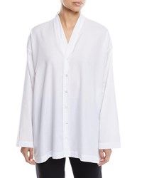 Eskandar V Neck Button Front Slim A Line Brushed Cotton Shirt White