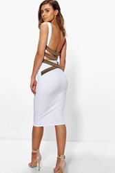 Boohoo Clarice Strappy Back Bodycon Midi Dress White
