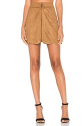 Wayf Warwick Zip Up Mini Skirt Tan