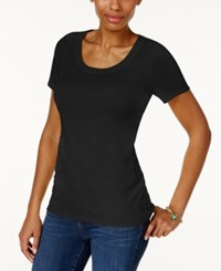 Charter Club Cotton Scoop Neck T Shirt Only At Macy's Deep Black