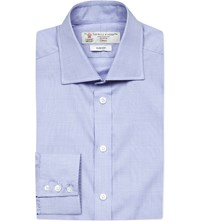 Turnbull And Asser Checked Slim Fit Cotton Shirt Blue