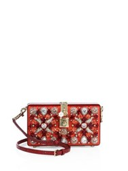 Dolce And Gabbana Miss Crystal Satin Snakeskin Evening Clutch Red