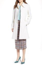 Halogen Boiled Wool Blend Fit And Flare Coat Ivory