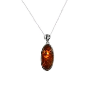 Goldmajor Amber And Sterling Silver Oval Pendant Silver Orange