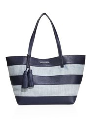 Michael Michael Kors Striped Canvas Large East West Tote Washed Blue