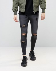 Sik Silk Siksilk Super Skinny Jeans With Distressing Black