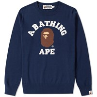 A Bathing Ape College Crew Knit Blue