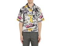 Prada Men's City And Car Cotton Bowling Shirt No Color