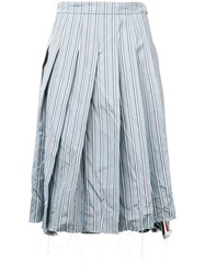 Thom Browne Tricolor Washed Stripe Pleated Skirt Blue