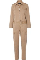 Rta Cisco Belted Cotton Blend Jumpsuit Beige