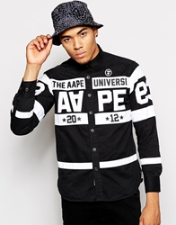 Aape By A Bathing Ape Aape Shirt With Stripes And Patches Black