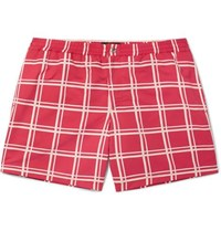 Tod's Short Length Checked Swim Shorts Red