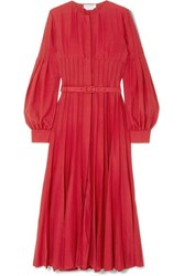 Gabriela Hearst Gertrude Pintucked Wool And Cashmere Blend Midi Dress Red