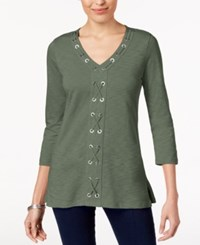 Jm Collection Cotton Grommet Laced Tunic Created For Macy's Mountain Sage