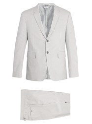 Thom Browne Single Breasted Striped Cotton Seersucker Suit Grey