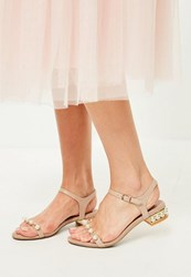 Missguided Nude Pearl Detail Sandals