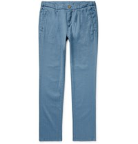 Altea Bowery Tapered Pleated Linen Blend Trousers Blue
