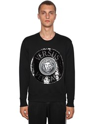 Versus By Versace Logo Sequined Cotton Crewneck Sweater Black