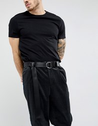 Asos Slim Woven Long Ended Belt In Black With D Ring Fastening