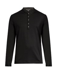 John Varvatos Long Sleeved Wool Henley Top Black