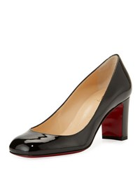 Christian Louboutin Cadrilla Patent Block Heel Red Sole Pump Black