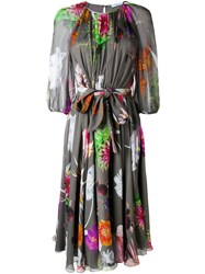 Blumarine Floral Print Semi Sheer Dress Women Silk Spandex Elastane 46 Grey