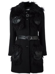 Jeremy Scott Fur Collar Coat Black