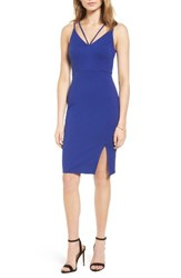 Soprano Women's Strappy Body Con Dress Blue Mazarine