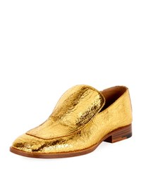 Dries Van Noten Crackled Metallic Leather Loafer Gold