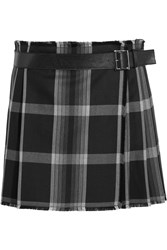 Alexander Mcqueen Pleated Checked Silk And Wool Blend Wrap Mini Skirt Black
