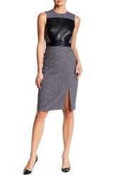 Catherine Malandrino Sleeveless Faux Leather Panel Dress Gray