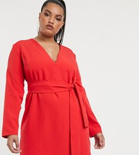 Vesper Curve Tailored Tux Dress With Tie Front In Red