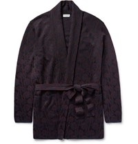 Dries Van Noten Milton Jacquard Knit Merino Wool Blend Cardigan Burgundy