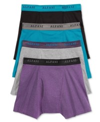 Alfani Men's 4 Pack. Cotton Boxer Briefs Only At Macy's Purple Black Teal Grey