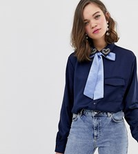 Sister Jane Blouse With Pussybow And Heart Jewel Detail Navy