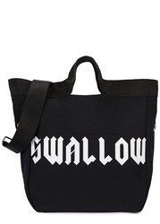 Mcq By Alexander Mcqueen Black Swallow Print Canvas Tote Black And White