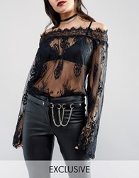 Retro Luxe London Ring Pull And Chain Leather Belt Black