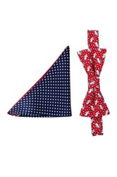 Alara Silk Reagan Gop Elephant Bow Tie And Pocket Square Set Red
