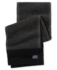 Nautica Men's Two Tone Stitched Scarf Black Multi 2