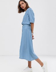 Selected Femme Button Through Chambray Midi Skirt Blue